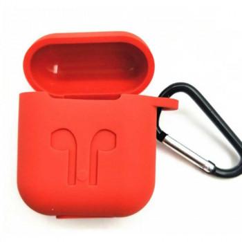 Защитный силиконовый чехол для наушников AirPods с карабином