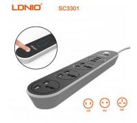 LDNIO сетевой фильтр 3 розетки + 3 USB 3.1A, 1.6m (SC3301)