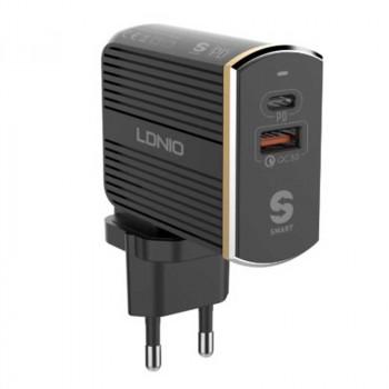 Зарядное устройство LDNIO EU Plug QC3.0 USB - Type-C PD Travel (A2502C)