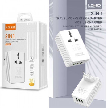 LDNIO 2in1 Travel Converter Adapter Mobile Charger 3USB 3.4A (A3306)