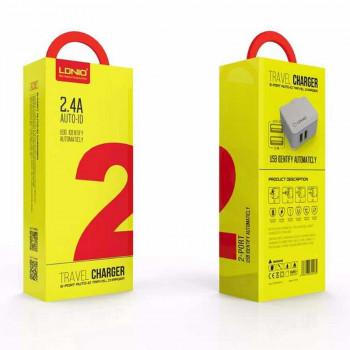 LDNIO 2.4A на 2 USB + lightning 1m (A2203) white