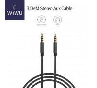 WIWU 3.5mm Stereo AUX cable, 1m, тканевая оплетка (YP-01) black