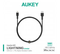 Aukey Impulse Braided Cable CL2, 2m Braided USB-C to Lightning Cable, MFI, 2m (CB-CL2) black