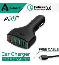 Aukey 54W 4-Port Car Charger with QC 3.0, microUSB 1m (CC-T9)