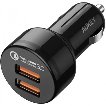 Aukey Dual Port Car Charger 36w 2xQC3.0 + micro USB 1m (CC-T8)