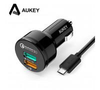 Aukey 2 Port Car Charger 33w 1xQC3.0 3A + 1xAi (CC-T7)