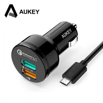 Автомобильное зарядное устройство Aukey 2 Port Car Charger with Qualcomm Quick Charge 3.0 (CC-T7)