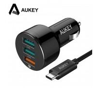 Aukey 3 Port Car Charger 42w 1xQC3.0 3A + 2xAi (CC-T11)