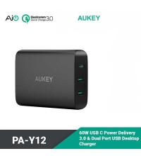 Aukey USB-C Charging Station with Power Delivery, U+U+C, PD 60w, USB 2.4A, 72w max (PA-Y12)