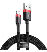 Baseus Cafule Cable, 8pin, 0.5m, 2.4A, в оплетке (CALKLF-A19) black with red