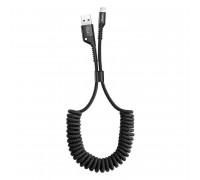 Baseus fish Eye Spring Data Cable, 8-pin, 1m, витой, в оплетке, 2A max (CALSR-01) black