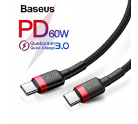 Baseus Cafule Series Type-C PD2.0 Cable, 1m, 20V3A (CATKLF-G91) black with red