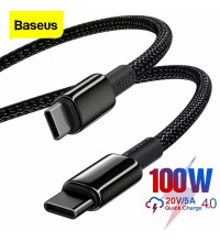 Baseus Tungsten Type-C  to Type-C 100w Cable, 1m, 20V5A, в оплетке (CATWJ-01) black