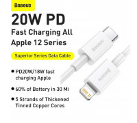 Baseus Superior Series Data Cable, Type-C to Lightning iP PD20W, 1.5m, 20W, (CATLYS-B02) white