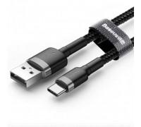 Baseus Cafule Cable, Type-C, 1m, 3Amax, в оплетке (CATKLF-BG1) black with gray