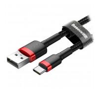 Baseus Cafule Cable, Type-C, 2m, 2 Amax, в оплетке (CATKLF-C91) black with red