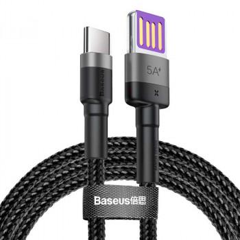 Baseus Cafule HW Cable, Type-C, 40w HW, 1m, 5Amax, в оплетке (CATKLF-PG1) black with gray