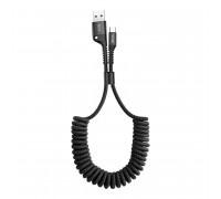 Baseus Fish Eye Spring Data Cable, TypeC, 1m, витой, в оплетке, 2A max (CARSR-01) black