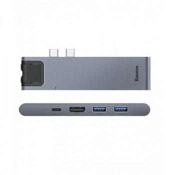 Адаптер Baseus Thunderbolt C+Pro HUB 7 in 1 Type-C x 2 - USB3.0, Type-C, SD, Micro SD, HDMI, RJ45 (CAHUB-L0G)