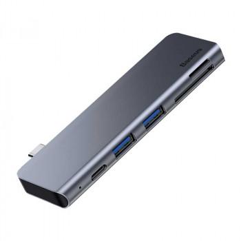 Адаптер Baseus Harmonica 5 in 1 HUB Adapter Type-C - 2 x USB 3.0, SD, TF, PD (CAHUB-K0G)