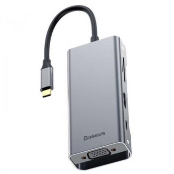 Адаптер Baseus Square Desk Type-C Multi-functional HUB (CATXF-A0G) USB 3.0 x 3, 4K HDMI, USB-C(PD), VGA, TF/SD