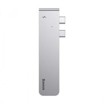 Адаптер Baseus Thunderbolt C+ Dual Type-C to USB3.0/HDMI/Type-C Female HUB Converter (CAHUB-B0G)