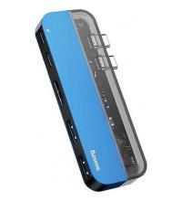 Baseus Transparent Series Dual Type-C HUB Adapter 2xUSB3.0 + HDMI 4K + 2xType-C (CAHUB-TS03) blue