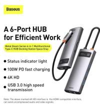 Baseus Metal Gleam Series 6-in-1, Type-C to HDMI 4K+3xUSB3.0+1GBps LAN+PD100w (CAHUB-CW0G)