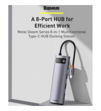 Baseus Metal Gleam Series 8-in-1, Type-C to HDMI 4K+3xUSB3.0+1GBps LAN+TF/SD+PD100w (CAHUB-CV0G)