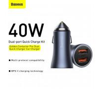 Baseus Golden Contactor Pro Dual Car Charger, U + C 40W, CCJDZ-C (CCJD-0G) dark gray