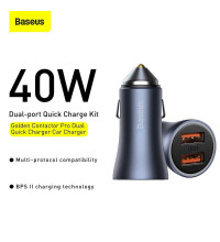 Baseus Golden Contactor Pro Dual Car Charger, 2USB 20w+20w, 40w max,CCJDZ-U (CCJD-A01) black