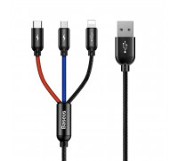 Baseus 3-in-1 Three Primary Colors 3.5A 0.3m (MICRO+LIGHTING+TypeC) (CAMLT-ASY01) black