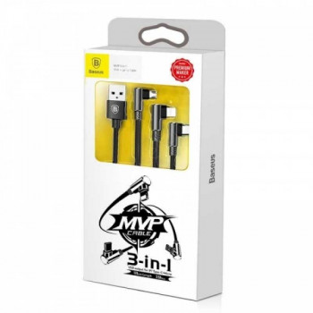 Baseus MVP  3-in-1 Mobile Game Cable 3.5A 1.2m (M+L+C), угловой, в оплетке (CAMLT-WZ01) black
