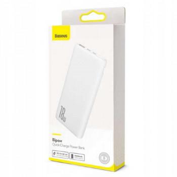 Baseus Bipow Quick Charge Power Bank 10000 mah, QC3.0 + PD 18w (PPDML-02) white