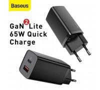 Baseus GaN 2 Lite Quick Charger C+U, 65w, QC 45W + PD 65W, CCGAN65UE (CCGAN2L-B01) black