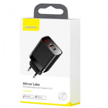 Сетевое зарядное устройство Baseus Mirror Lake 18W, Digital Display, Quick Charge, USB, Type-C (CCJMHC-A01, CCJMHC-A02)