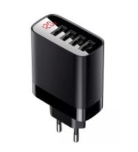 Baseus Mirror Lake Digital Display 4 USB Travel Charger 30W, LED, BS-E914  (CCJMHB-B01) black