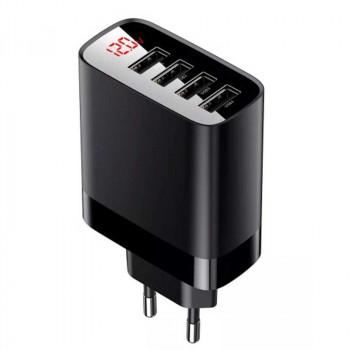 Сетевое зарядное устройство Baseus Mirror Lake Digital Display 4USB Travel Charger 30W (CCJMHB-B01, CCJMHB-B02) BS-E914