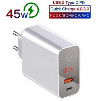 Baseus Speed PPS, LED, USB QC 3.0 + Type-C PD 45w (CCFSEU907-02) white
