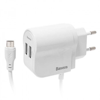 Baseus AC40 Dual USB Charger 10W, with micro USB Cable, 2xUSB (CCAC40-M02) white