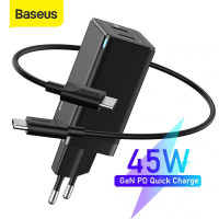 Baseus GaN Mini Quick Charger, 2xType-C PD, 45w max, model CCGAN45CE, кабель С-C1m (CCGAN-M01) black