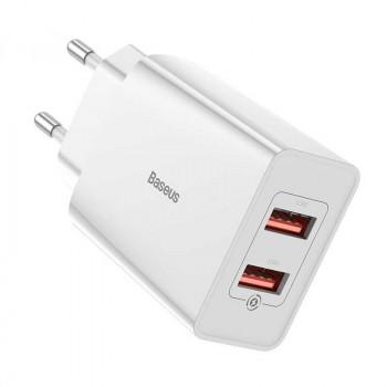 Baseus Speed Mini Dual U QQ, 2xUSB QC3.0, 18w, 3A, TC-012QQ (CCFS-V02) white
