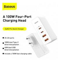 Baseus GaN 2 Pro Quick Charger 2C+2U, 100w max, USB QC 60w, PD 100w, CCGAN100UE (CCGAN2P-L02) white