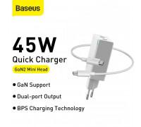 Baseus GaN Mini Quick Charger C+C, 45w max, model CCGAN45CE, кабель С-C 1m (CCGAN-M02) white