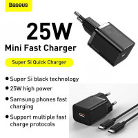Baseus Super Si Quick Charger 1C 25W EU Sets (with cable Type-C To Type-C 3A 1m) (TZCCSUP-L01) black