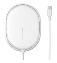 Baseus Light Magnetic Wireless Charger, QI 15W, support iP12 Series (WXQJ-02) white