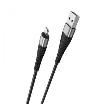 Borofone BX32 for Lightning Charging Data Cable, 8pin, 1m, 2.4A, в оплетке, black