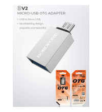 Borofone BV2 OTG USB - microUSB адаптер, silver