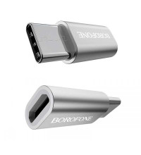 Borofone BV4 MicroUSB to Type C Adapter, silver