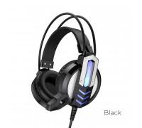 Borofone Fun Gaming Headphones, провод 2.4м, USB для питания подсветки, черные